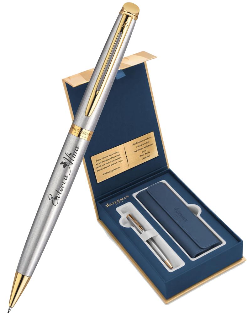 S0920370Gifts Waterman Hemisphere Набор с гравировкой: Чехол и Шариковая ручка    Essential, St. Steel GT