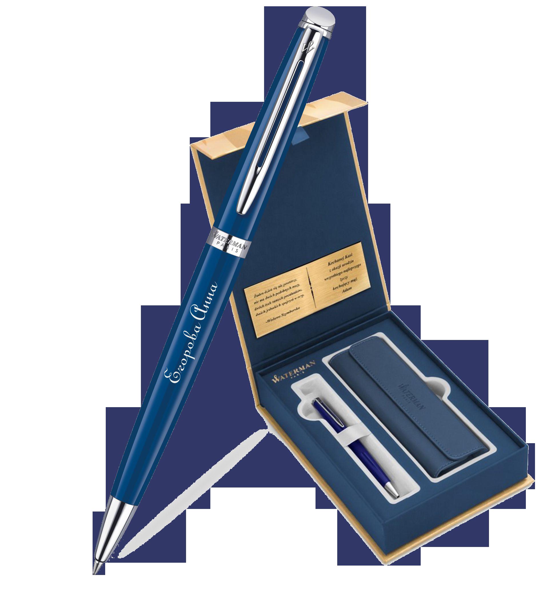 1904603Gifts Waterman Hemisphere Набор с гравировкой: Чехол и Шариковая ручка, Blue Obsession CT