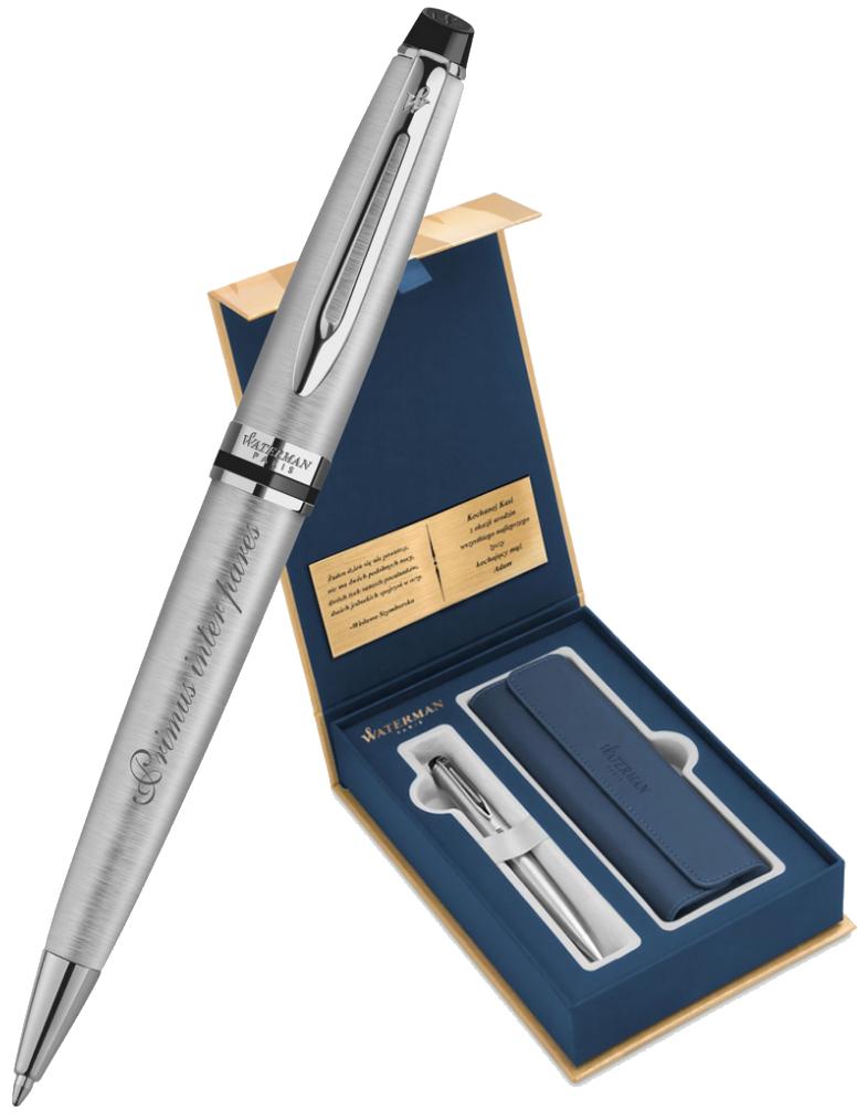 S0952100Gifts Waterman Expert Набор с гравировкой: Чехол и Шариковая ручка   Essential, St. Steel CT