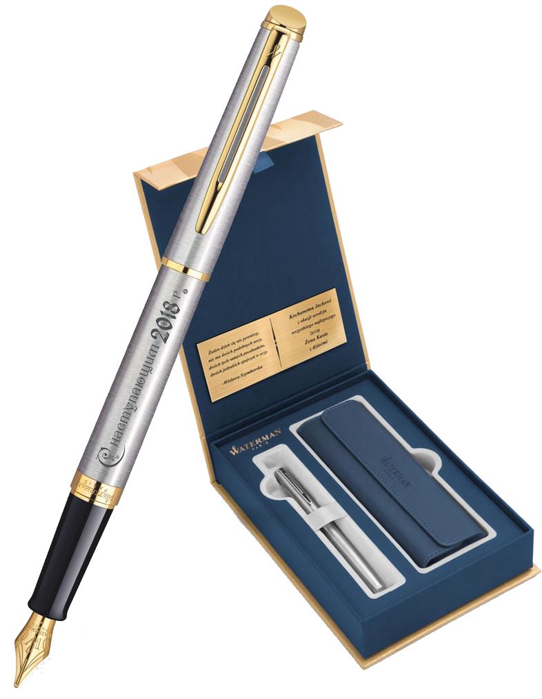 S0920310Gifts Waterman Hemisphere Набор с гравировкой: Чехол и Перьевая ручка    Essential, St. Steel GT