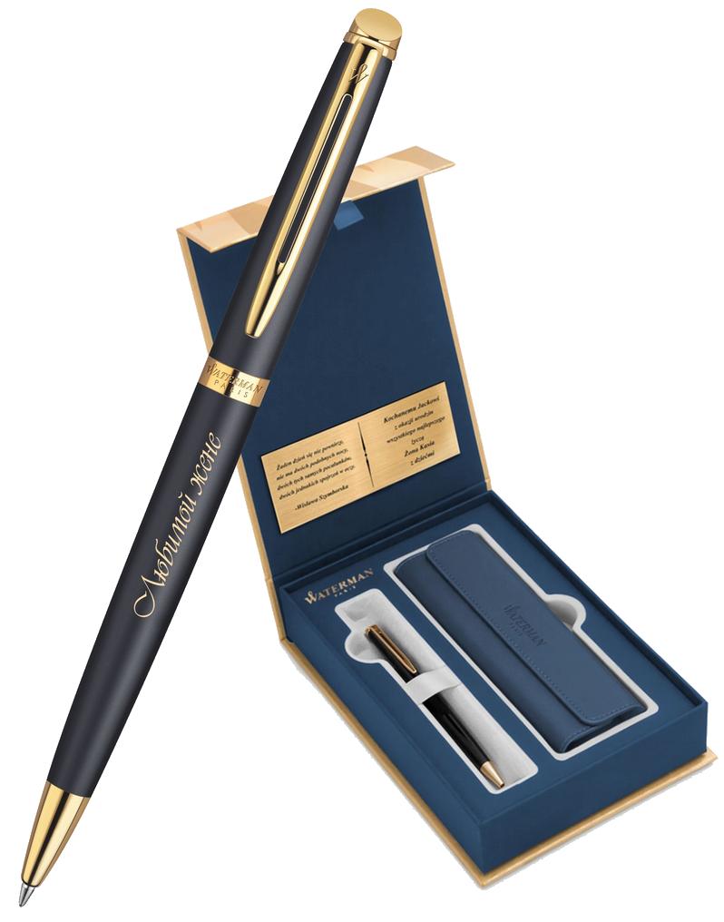 S0920770Gifts Waterman Hemisphere Набор с гравировкой: Чехол и Шариковая ручка, цвет: MatteBlack GT
