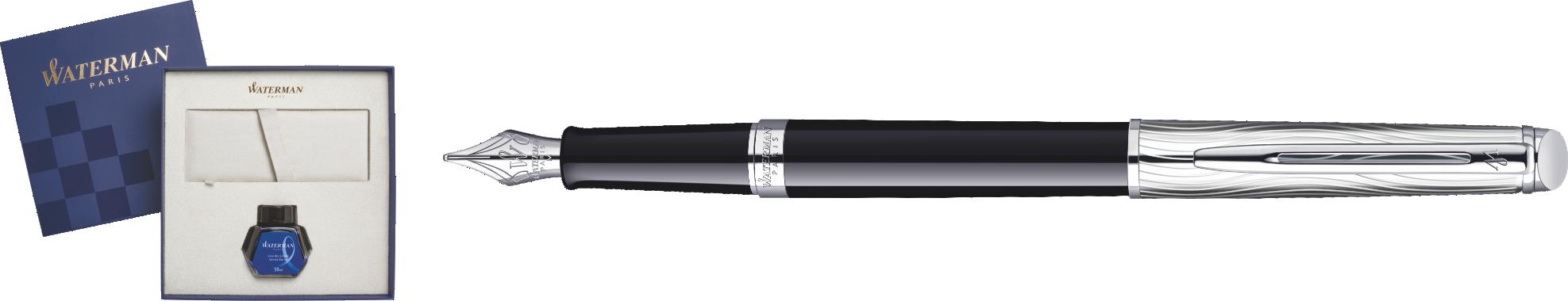 S0921090bottle Waterman Hemisphere Подарочный набор: перьевая ручка  Deluxe, Black CT и чернила, blue