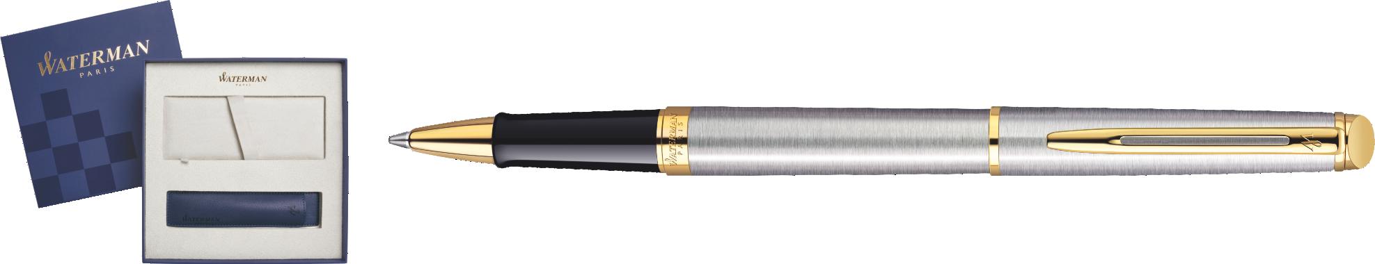 S0920350Cover Waterman Hemisphere Подарочный набор Ручка-роллер   Essential, Stainless Steel GT  с чехлом